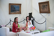 CANDY SCHLESINGER; LYN SCHLESINGER; IN FRONT OF DEGAS ON RIGHT, The Dalwhinnie Crook  charity Polo match  at Longdole  Polo Club, Birdlip  hosted by the Halcyon Gallery. . 12 June 2010. -DO NOT ARCHIVE-© Copyright Photograph by Dafydd Jones. 248 Clapham Rd. London SW9 0PZ. Tel 0207 820 0771. www.dafjones.com.