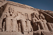 Temple of King Rameses II in Abu Simbel, Nubia, Egypt, moved up from the water's edge in 1964 to prevent being innundated by Lake Nasser
