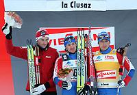 Petter Northug (NOR), Maxim Vylegzhanin (RUS) und Alexander Legkov (RUS) (Pascal Muller/EQ Images)