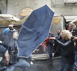 April 29, 2019 - Naples, campania, Italy - The unemployed make a clash with the police outside the theater at the opening of the PD electoral campaign by secretary Nicola Zingaretti in Naples on April 29, 2019 (Credit Image: © Fabio Sasso/Pacific Press via ZUMA Wire)
