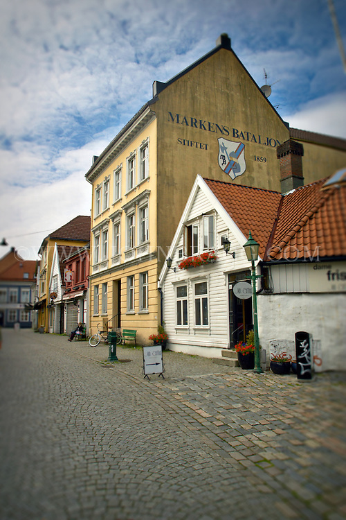 Cobblestone streets and colorful buildings in Bergen, Norway