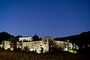 Benedictine Monastery of Samos illuminated night, along the Camino de Santiago, Galicia, Spain.
