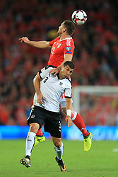 2nd September 2017 - 2018 FIFA World Cup Qualifying (Group D) - Wales v Austria - Sam Vokes of Wales battles with Aleksandar Dragovic of Austria - Photo: Simon Stacpoole / Offside.