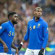 PARIS, FRANCE - March 25:  Paul Pogba #6 of France and Samuel Umtiti #5 of France during the France V Iceland, 2020 European Championship Qualifying, Group Stage at  Stade de France on March 25th 2019 in Paris, France (Photo by Tim Clayton/Corbis via Getty Images)