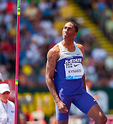 ERIK KYNARD (USA) glares seemingly in disbelief as the high jump bar falls after his jump during the second day of the Diamond League event Prefontaine Classic held at the University of Oregons Hayward Field.The Prefontaine Classic is named for University of Oregon track legend Steve Prefontaine.
