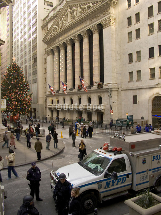 special police unit in front of NY stock exchange Christmas time 2004