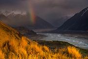 Rainbow over Rakaia river valley, Glenfalloch station, Canterbury, New Zealand