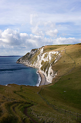 Coastal path heading towards White Nothe on the Jurassic Coast, Dorset, England, UK.