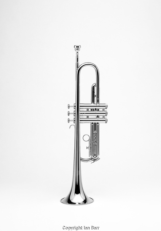 Trumpet shot on white background,in Black and white.