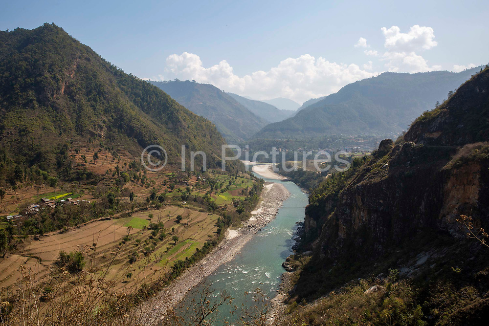 The Buri Gandaki river on the 3rd of March 2020 near Malekhu Benighat region, Nepal. This river is a tributary of the Gandaki river in Nepal and acts as a boarder for the Benighat of Dhading and Gorkha Districts. Nepal is looking to build a $2.5 billion dam on the river, the plant and its reservoir are to be located in the Dhading and Gorkha districts.
