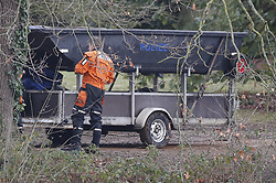 © Licensed to London News Pictures. 05/02/2019. Reading, UK. The scene at Whiteknights Campus at Reading University in Berkshire after a body was found in the search for missing student Daniel Williams. Daniel has been missing for five days. Photo credit: Peter Macdiarmid/LNP