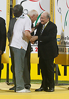 Photo: Steve Bond/Richard Lane Photography.<br />Cameroon v Egypt. The Final. Africa Cup of Nations. 10/02/2008. Otto Pfister (L) gets a runner up medal from Sepp Blatter (R)