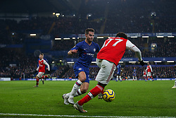 Cesar Azpilicueta of Chelsea closes down Bukayo Saka of Arsenal - Mandatory by-line: Arron Gent/JMP - 21/01/2020 - FOOTBALL - Stamford Bridge - London, England - Chelsea v Arsenal - Premier League