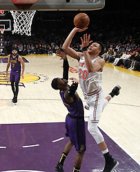 January 4, 2019 - Los Angeles, California, U.S - New York Knicks' Kevin Knox (20) goes to basket while defended by Los Angeles LakersÃ• Kentavious Caldwell-Pope (1) during an NBA basketball game between Los Angeles Lakers and New York Knicks on Friday, Jan. 4, 2019, in Los Angeles. (Credit Image: © Ringo Chiu/ZUMA Wire)