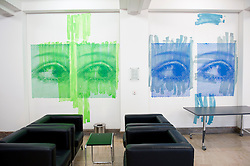 Artwork on wall in corridor of historic Finance Ministry or Bundesministerium der Finanzen in Mitte Berlin Germany