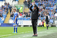 Outgoing Cardiff City manager Russell Slade applauds the Cardiff  fans  in his last match as manager as it was announced yesterday that he is to be moved upstairs for his new post as Director of Football..  Skybet football league championship match, Cardiff city v Birmingham city at the Cardiff city stadium in Cardiff, South Wales on Saturday 7th May 2016.<br /> pic by Carl Robertson, Andrew Orchard sports photography.