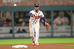 May 18, 2018 - Atlanta, GA, U.S. - ATLANTA, GA Ð MAY 18:  Braves second baseman Ozzie Albies (1) starts a double play during the game between Atlanta and Miami on May 18th, 2018 at SunTrust Park in Atlanta, GA.  The Miami Marlins defeated the Atlanta Braves by a score of 2 Ð 0.  (Photo by Rich von Biberstein/Icon Sportswire) (Credit Image: © Rich Von Biberstein/Icon SMI via ZUMA Press)