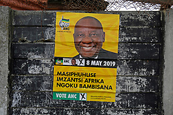 Wednesday 8th May 2019.<br /> Monwabisi Park, Harare,<br /> Khayelitsha, Cape Town, <br /> Western Cape, <br /> South Africa.<br /> <br /> SOUTH AFRICAN GENERAL ELECTIONS 2019!<br /> <br /> SOUTH AFRICAN PROVINCIAL AND NATIONAL ELECTIONS 2019! <br /> <br /> An ANC elections poster is seen on a wall outside the voting station at Monwabisi Park, Harare in Khayelitsha near Cape Town, Western Cape, South Africa.<br /> <br /> Registered South African Voters head to the various IEC (Independent Electoral Commission) Voting Stations where they are registered to vote as they cast their votes and take part in voting and other activities on Voting Day 8th May 2019 during the South African General Elections 2019. Voters from across the nation stood in queue's along with many others to vote in the Provincial and National Elections being held in South Africa on Wednesday 8th May 2019.   <br />  <br /> Copyright © Mark Wessels. All Rights Reserved. No Usage Without Permission.<br /> <br /> PICTURE: MARK WESSELS. 08/05/2019.<br /> +27 (0)61 547 2729.<br /> mark@sevenbang.com<br /> studioseven@mweb.co.za<br /> www.markwesselsphoto.com