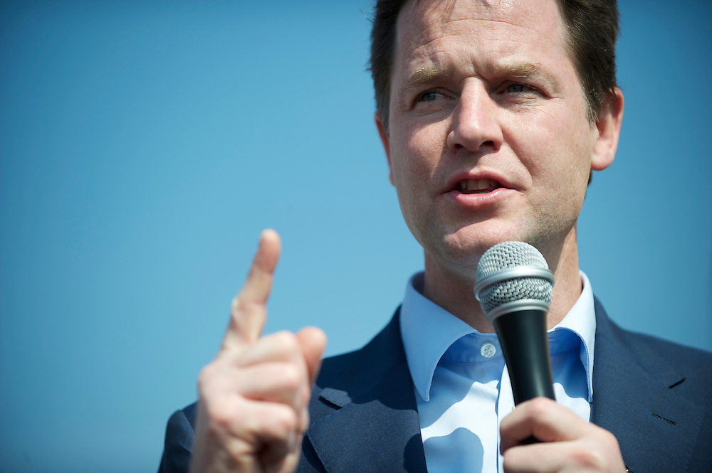Liberal Democrat leader Nick Clegg campaigns on 23 April 2010, holding a rally at the Morrison's supermarket in Norwich, Norfolk, UK.  With the general election looming on 6 May 2010, predicted to be one of the closest and most fiercely fought in decades, candidates are campaigning at a torrid pace, holding many events throughout the UK.