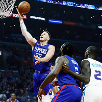 31 December 2017: LA Clippers forward Blake Griffin (32) goes for the layup during the LA Clippers 106-98 victory over the Charlotte Hornets, at the Staples Center, Los Angeles, California, USA.