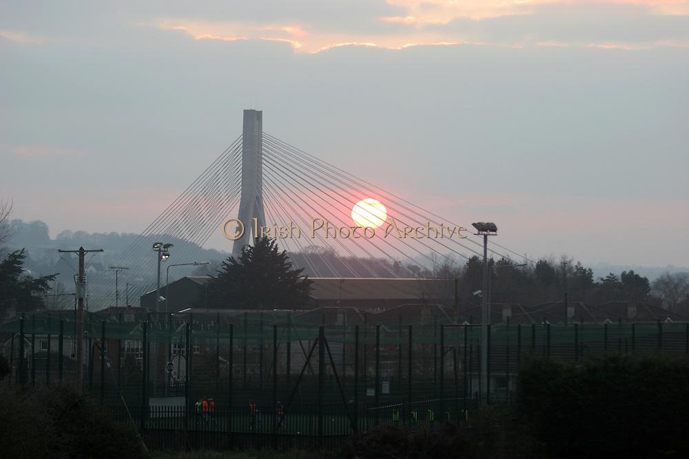 Sun set on Boyne Boyne, Bridge, Mary McAleese Bridge,