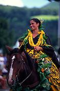Pa'u Rider, Kamehameha Day, Waimea, Island of Hawaii, (editorial use only, no model release)<br />
