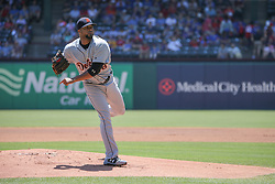 May 9, 2018 - Arlington, TX, U.S. - ARLINGTON, TX - MAY 09: Detroit Tigers pitcher Francisco Liriano (38) throws to the plate during the game between the Detroit Tigers and the Texas Rangers on May 9, 2018 at Globe Life Park in Arlington, TX. (Photo by George Walker/Icon Sportswire) (Credit Image: © George Walker/Icon SMI via ZUMA Press)