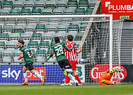 GOAL 1-1 Plymouth Argyle Midfielder Joe Edwards (8) heads the ball and scores  and celebrates a goal while Sunderland players look disappointed during the EFL Sky Bet League 1 match between Plymouth Argyle and Sunderland at Home Park, Plymouth, England on 1 May 2021.
