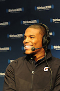 2/1/13 New Orleans LA.-NFL Super Bowl XLV11 Radio Row QB Cam Newton speaks with SiriusXM Radio.Photo©Suzi Altman
