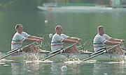 Lucerne, Switzerland. 1995 FISA WC III, Lake Rotsee, Lucerne,<br /> GER M4X.<br /> [Mandatory Credit. Peter SPURRIER/Intersport Images]<br /> <br /> Image scanned from Colour Negative
