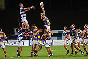 Bay of Plenty gets up for the ball against Auckland during the Mitre 10 Cup match played at Rotorua International Stadium in Rotorua on Friday 2nd October 2020.<br /> Copyright photo: Alan Gibson / www.photosport.nz