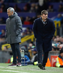 CSKA Moscow manager Viktor Goncharenko (right reacts during the UEFA Champions League match at Old Trafford, Manchester.