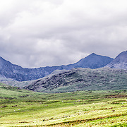 The rugged landscape of the mountains in the north of Snowdonia National Park, Wales, along the beautiful A4086 road.