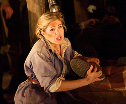 Paul Bunyan <br /> by Benjamin Britten <br /> English Touring Opera<br /> at The Linbury Studio Theatre, Royal Opera House, Covent Garden, London, Great Britain <br /> rehearsal <br /> 14th February 2014 <br /> directed by Liam Steel<br /> <br /> <br /> <br /> Mark Wilde as Johnny Inkslinger<br /> <br /> Wyn Pencarreg as Hal Helson <br /> <br /> Caryl Hughes as Tiny <br /> <br /> Ashley Catling as Hot Biscuit slim <br /> <br /> Stuart Haycock as Sam Sharkey <br /> <br /> Piotr Lempa as Ben Benny <br /> <br /> Abigail Kelly as Fido<br /> <br /> Amy J Payne as Moppet <br /> <br /> Emma Watkinson as Poppet<br /> <br /> Matt R J Ward as Western Union Boy <br /> <br /> Adam Tunnicliffe as John Shears <br /> <br /> Matthew Sprange as Cross Crosshauison <br /> <br /> Johnny Herford <br /> as Blues Singer<br /> <br /> Maciek O'Shea as Jen Jenson <br /> <br /> Simon Gfeller as Pete Peterson <br /> <br /> Henry Manning as Blues singer<br /> <br /> Hannah Sawle as Goose <br /> <br /> Lorna Bridge as Goose<br /> <br /> Annabel Mountford as Goose<br /> <br /> Helen Johnson as Blues singer<br /> <br /> Susan Moore as Beetle<br /> <br /> Emily Jane Thomas as Young Tree <br /> <br /> <br /> Photograph by Elliott Franks