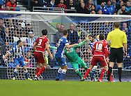Middlesbrough FC midfielder Albert Adomah scores to make it 2-0 during the Sky Bet Championship match between Brighton and Hove Albion and Middlesbrough at the American Express Community Stadium, Brighton and Hove, England on 19 December 2015.