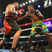 TAMPA, FL - FEBRUARY 28:  Esquiva Falcao (R) punches Mike Tufariello during the SoloBoxeo Tecate boxing match at the University of South Florida Sundome on February 28, 2015 in Tampa, Florida. Falcao won the bout by knockout.  (Photo by Alex Menendez/Getty Images) *** Local Caption *** Esquiva Falcao; Mike Tufariello