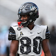 ORLANDO, FL - OCTOBER 24:  Wide receiver Kevin Byrd #80 of the Central Florida Knights is seen during warmups at Bounce House-FBC Mortgage Field on October 24, 2020 in Orlando, Florida. (Photo by Alex Menendez/Getty Images) *** Local Caption *** Kevin Byrd