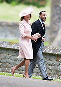 ENGLEFIELD- UK -20th May 2017: <br /> <br /> Pippa Middleton Wedding<br /> <br /> The wedding of Pippa Middleton, sister of Kate, Duchess of Cambridge takes place at St Mark's Church Englefield in Berkshire.<br /> Pippa marries James Matthews. Present at the ceremony were her sister, Kate with Prince William and Prince Harry. Prince George and Princess Charlotte were pageboy and bridesmaids.<br /> <br /> Photo Shows: Mother Carol and Pippa's brother James<br /> ©Ian Jones/Exclusivepix Media
