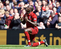 BRITAIN-LIVERPOOL-FOOTBALL-ENGLISH PREMIER LEAGUE-LIVERPOOL VS WOLVERHAMPTON WANDERERS..(190512) -- LIVERPOOL, May 12, 2019  Liverpool's Sadio Mane celebrates scoring a goal during the final English Premier League match of the season between Liverpool and Wolverhampton Wanderers at Anfield in Liverpool, Britain on May 12, 2019. Liverpool won 2-0.  FOR EDITORIAL USE ONLY. NOT FOR SALE FOR MARKETING OR ADVERTISING CAMPAIGNS. NO USE WITH UNAUTHORIZED AUDIO, VIDEO, DATA, FIXTURE LISTS, CLUB/LEAGUE LOGOS OR ''LIVE'' SERVICES. ONLINE IN-MATCH USE LIMITED TO 45 IMAGES, NO VIDEO EMULATION. NO USE IN BETTING, GAMES OR SINGLE CLUB/LEAGUE/PLAYER PUBLICATIONS. (Credit Image: © Xinhua via ZUMA Wire)