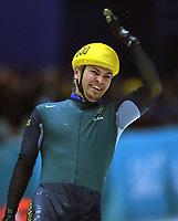 Skøyter. Short-track. Kortbane. OL 2002 Salt Lake City. Steven Bradbury fra Australia tok gull på 1000 meter da alle de andre falt. 16.02.2002.<br />Foto: Valerie Witters, Digitalsport