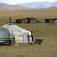 Mongolian Ger with satellite dish.