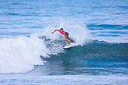 Johanne Defay of France winning Heat 1 of Round One and advances directly to Round Three of the Swatch Pro at Trestles, CA, USA.