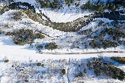 THEMENBILD - Die Schneefälle der vergangenen Tage sorgen in Teilen Österreichs für massive Gefahren und Behinderungen. Hier im Bild Luftbild von der Schneeräumung der Kalser Landesstrasse aufgenommen am Montag 18. November 2019 in Kals am Großglockner // Aerial view of the snow clearing of the Kalser Landesstrasse pictured on Monday, November 18, 2019 in Kals am Grossglockner. The extreme snowfalls of the past few days cause massive dangers and disabilities in parts of Austria. EXPA Pictures © 2019, PhotoCredit: EXPA/ Johann Groder
