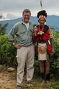 Pete Oxford with Naga head hunters<br /> Nagaland,  ne India