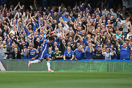 Chelsea midfielder Willian (22) celebrates his goal during the Premier League match between Chelsea and Sunderland at Stamford Bridge, London, England on 21 May 2017. Photo by John Potts.
