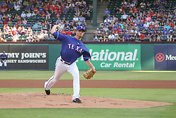 May 23, 2018 - Arlington, TX, U.S. - ARLINGTON, TX - MAY 23: Texas Rangers starting pitcher Doug Fister (38) throws to the plate during the game between the New York Yankees and the Texas Rangers on May 23, 2018 at Globe Life Park in Arlington, TX. (Photo by George Walker/Icon Sportswire) (Credit Image: © George Walker/Icon SMI via ZUMA Press)