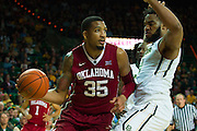 WACO, TX - JANUARY 24: TaShawn Thomas #35 of the Oklahoma Sooners drives to the basket against the Baylor Bears on January 24, 2015 at the Ferrell Center in Waco, Texas.  (Photo by Cooper Neill/Getty Images) *** Local Caption *** TaShawn Thomas