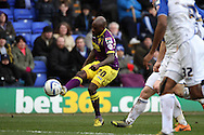 Notts County's Jamal Campbell-Ryce crosses the ball. Skybet football league one match, Tranmere Rovers v Notts county at Prenton Park in Birkenhead, England on Saturday 15th March 2014.<br /> pic by Chris Stading, Andrew Orchard sports photography.