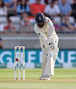 Adil Rashid is lbw to Ishant Sharma during the first Test Match between England and India at Edgbaston, Birmingham. Photo: Graham Morris  / www.photosport.nz