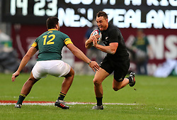 Israeal Dagg and Damian de Allende  during the Castle Lager Rugby Championship test match between South Africa and New Zealand held at Kings Park stadium in Durban on the 8th October 2016<br /> <br /> Photo by:  RealTime Images